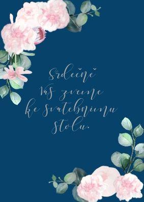 Svatební pozvánky ke stolu Šípkové růže - modrá a bílá, 90x50/100mm tiš