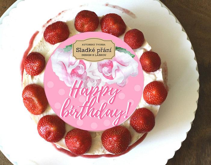 Jedlé blahopřání na dort - Růže retro dots, No.4