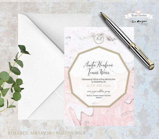 Svatební oznámení s geometrickým motivem, v barvě růžového mramoru a zlatým rámováním a písmem, ve stylech vintage