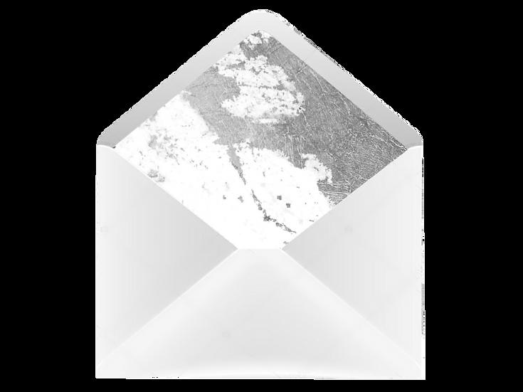 Obálka C6+ bílá - s vkladem Blush kaligrafie, šedá