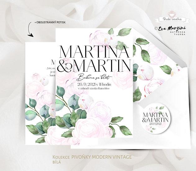 Svatební oznámení s pudrově růžovými pivoňkam a zelenými lísty ve stylu boho glamour