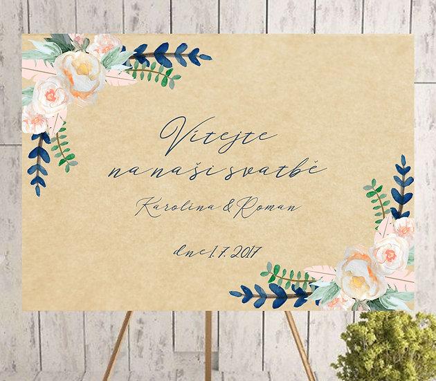 Plakát Vítejte na naši svatbě Boho růže no.3, A3
