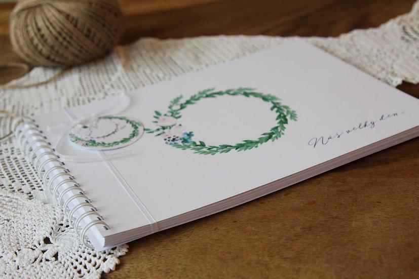 Kniha přání Myrtový věneček, bílá 297x210, tištěná