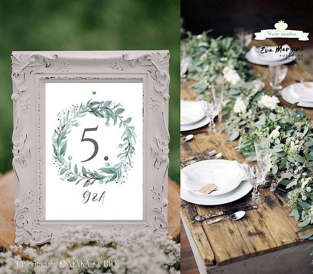 Čísla 1-10 na stoly Lesněnka, bílé