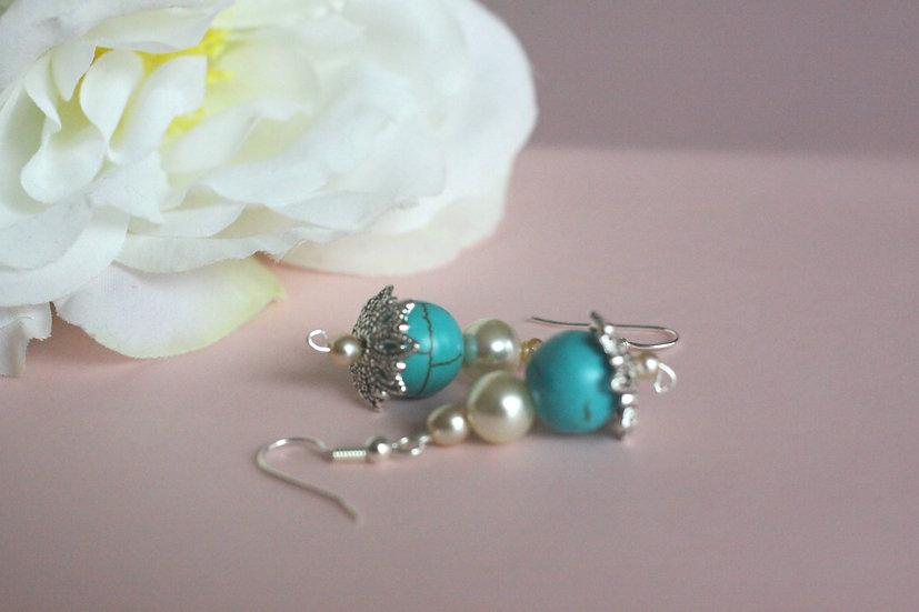 Leknín náušnice z perel pro nevěsty nebo družičky 149 Kč