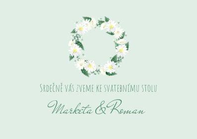 Svatební pozvánky Věneček z kopretin, v zelené - 74x105mm tištěné