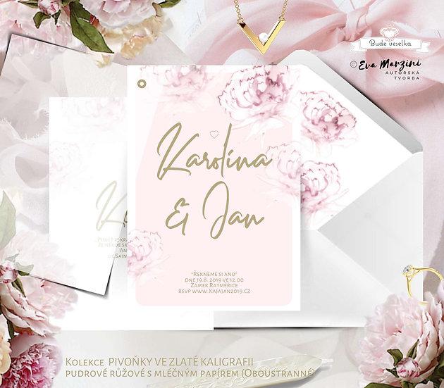 Svatební oznámení Pivoňky ve zlaté kaligrafii, pudr rose - 120x170 mm- tištěn