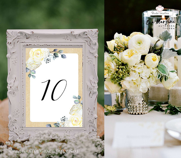 Čísla 1-10 na stoly Grace Kelly, No.1
