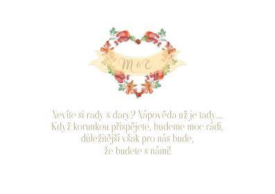 Svatební kartička na dary Srdce podzimu - v bílé, tiš