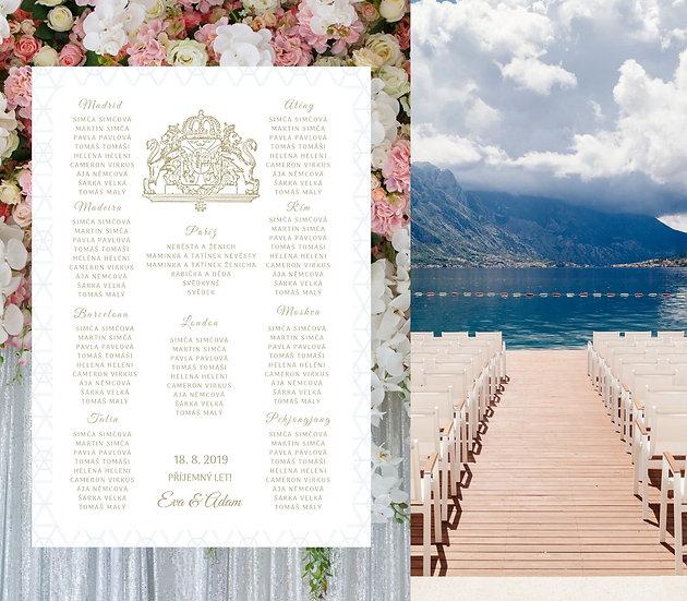 Plakát Zasedací plán Svatební pas, A3 - bílý - tištěný