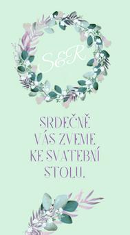 Svatební pozvánky/ na dary Boho lila věneček - v bílé / mint, 90x50/100