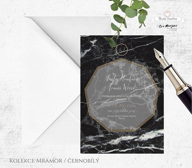 Svatební oznámení s geometrickým motivem, v barvě šedo-černého mramoru a zlatým rámováním a písmem, ve stylech vintage