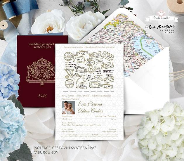 Svatební oznámení svatební pas vínové a zlaté, obsahuje Boarding pass jako pozvánku ke svatebnímu stolu a obálku s mapou