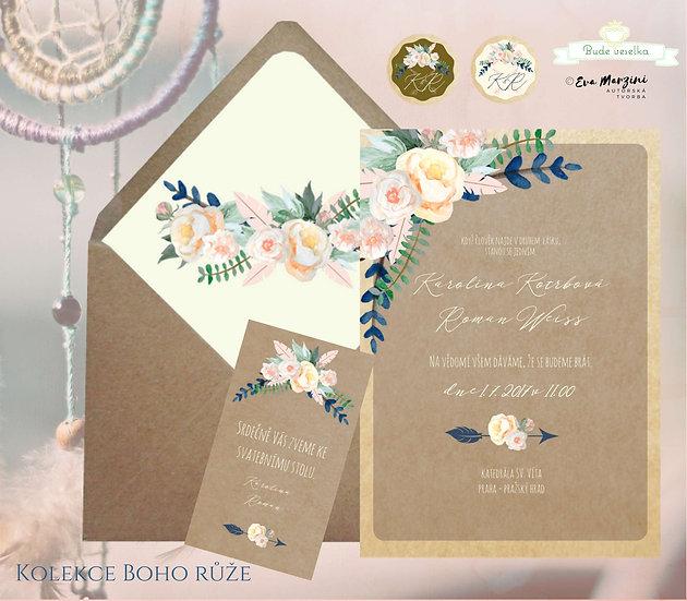 Svatební oznámení Boho růže, s meruňkovými růžemi na přírodním papíru kraft, vestylu boho rustikálním