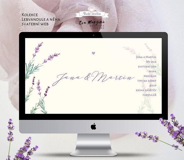 Svatební web  s Levandulí ve vanilkové barvě v přírodním stylu, pro rustic či provance svatby