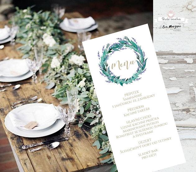 Svatební menu Levandule/eucalyptus, v bílé, 99 mm x 210 mm tištěné