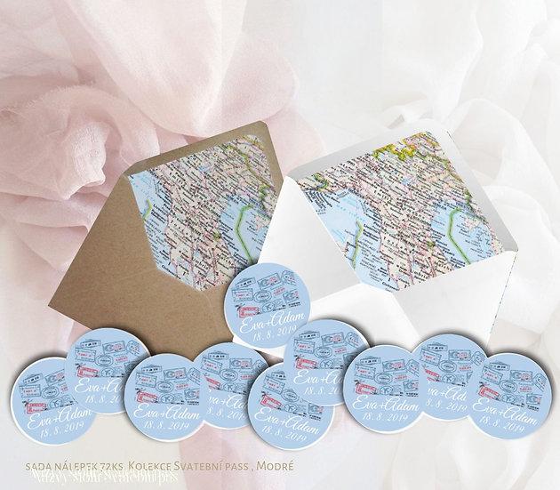 Kulaté nálepky Svatební pas, modrá 72 ks /45 m
