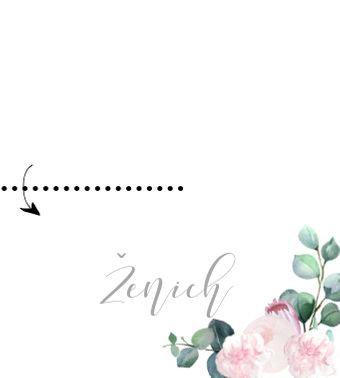 Jmenovky ke stolu Šípkové růže - přírodní a bílá, 90x50/100mm tištěné