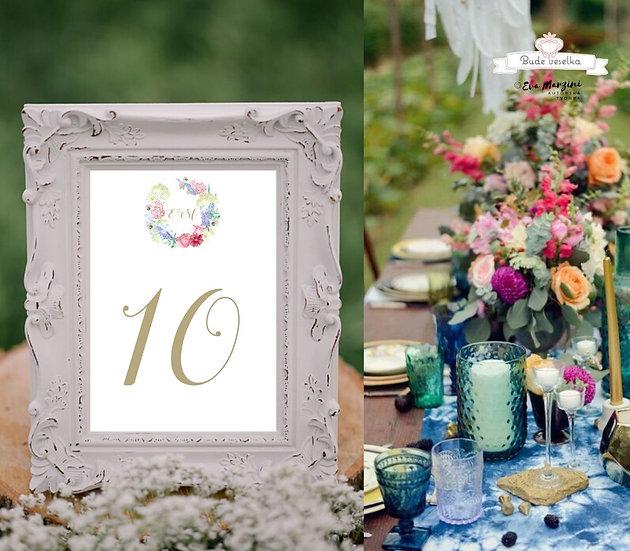 Čísla 1-10 na stoly Luční zahrada, bílá
