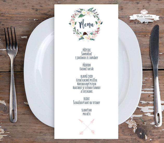 Svatební menu Boho věneček, v bílé, 99 mm x 210 mm tištěné