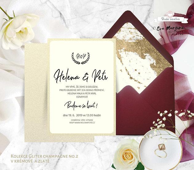 Svatební oznámení Gliter Champaigne, v ivory v kaligrafickém stylu se zlatými akcent