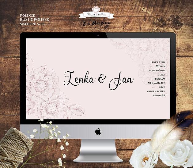 Svatební web v rustic stylu v růžové s kresbou pivoněk a růží