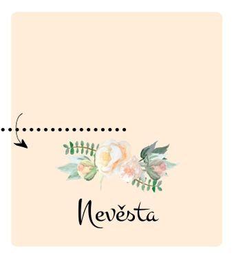 Svatební jmenovky Srdíčko z růží, meruňková - 90x100mm tištěné