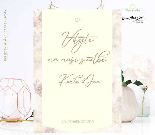 """Plakát """"Vítejte"""" Zlatá kaligrafie, ivory, od A3"""