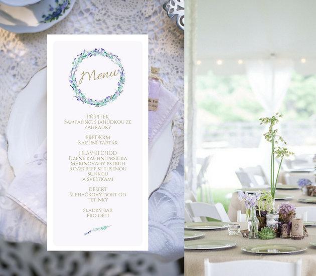 Svatební menu Levandule No.1 - lila, 99x210 mm tištěné
