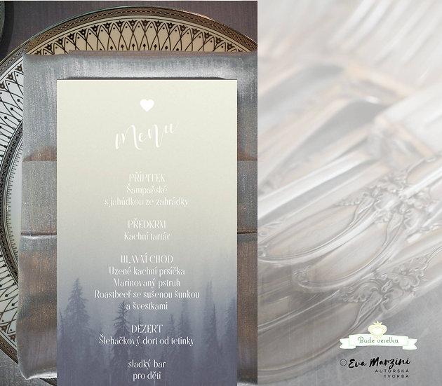 Svatební menu Snový les - v šedo-modré, 99x210 mm tištěné