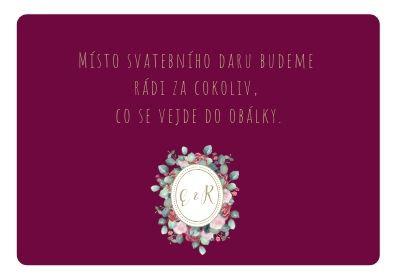 Kartičky na dary Burgundy medailon, ve vínové - 50x90mm tištěné