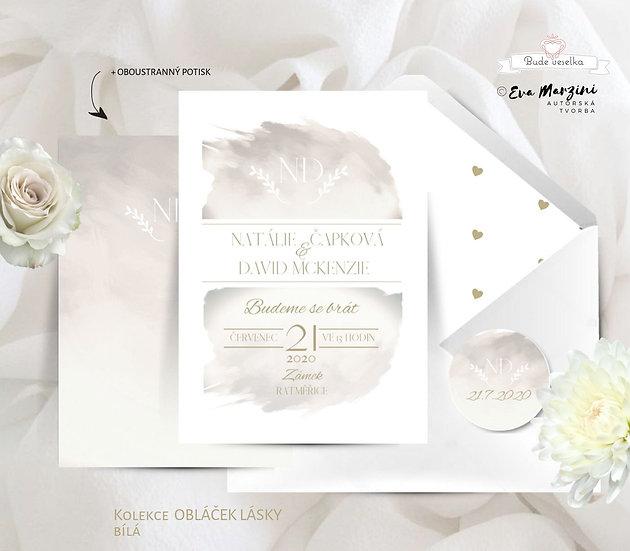 Svatební oznámení s obláčkem okrové, tištěné ve stylu vintage a kaligrafic