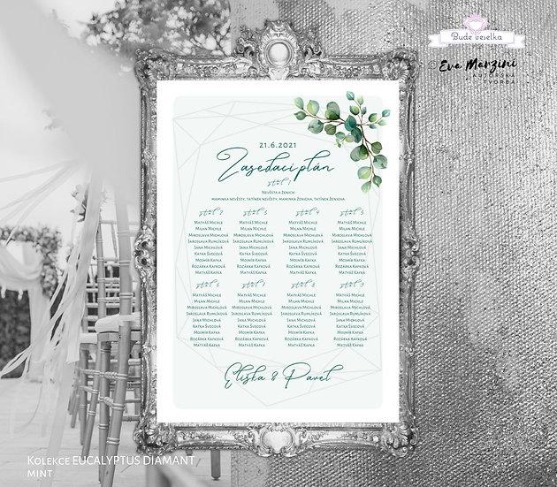 Zasedací plán Eucalyptus Diamant, A3 - mint - tištěný