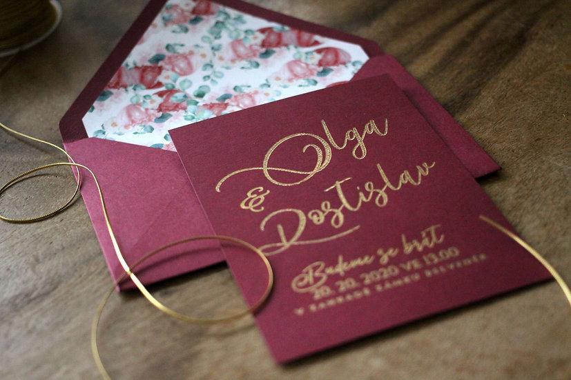 Svatební oznámení Zlatá burgundy se zlatým nebo goldrose písmem