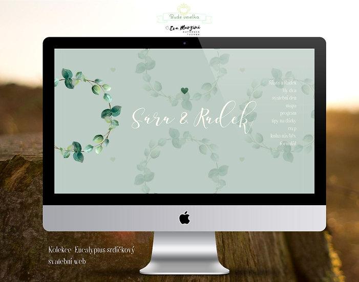 Svatební web s lístky eucalyptu srdíčkového v olivové pro přírodní a vintage svatby.