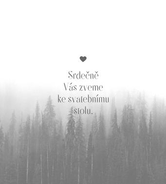 Svatební pozvánky Snový les, v šedo-bílé - 90x100mm tištěné