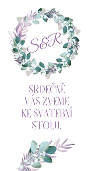 Svatební pozvánky/ na dary Boho lila věneček - v bílé, 90x50/100