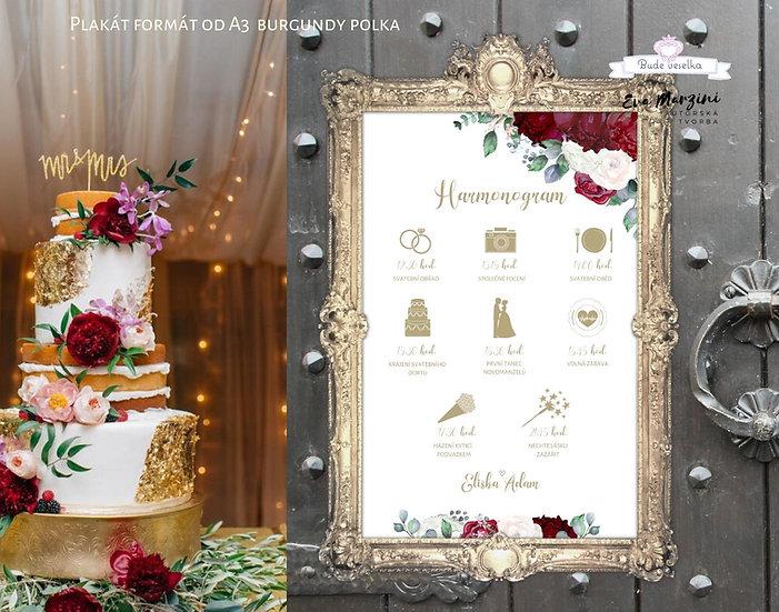 Plakát Harmonogram Burgundy Polka, bílý, A3
