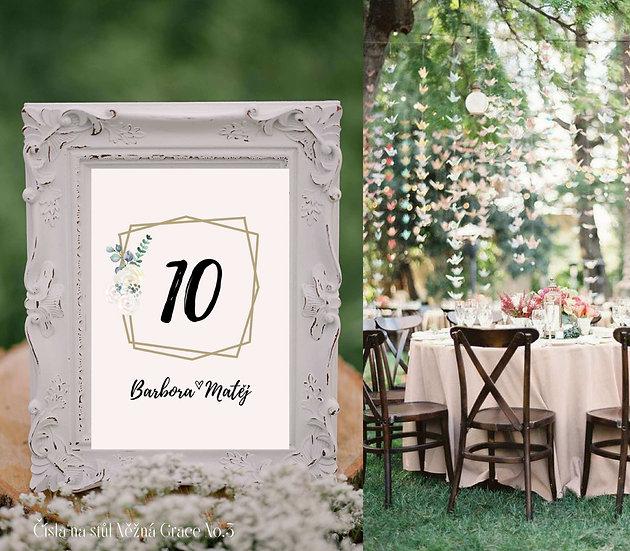 Čísla 1-10 na stoly Něžná Grace, No.3