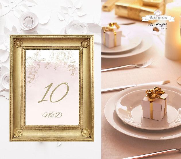 Čísla 1-10 na stoly Zlatá Krasotužka, pudr rose