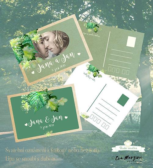 Svatební oznámení pohlednicové s fotkou v zelené s lístky dubu a lípy