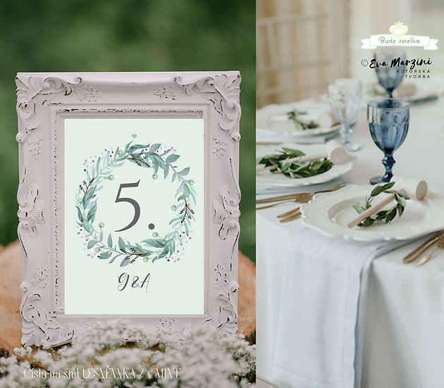 Čísla 1-10 na stoly Lesněnka, mint