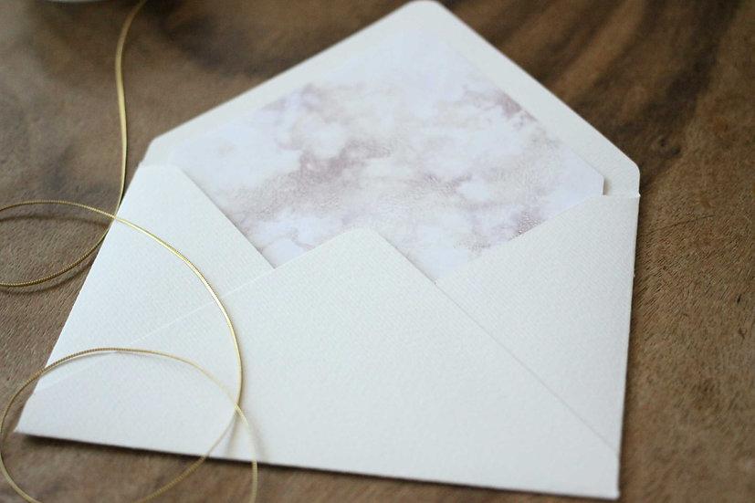 Obálka C6+ vroubkovaná cream - Zlatá kaligrafie