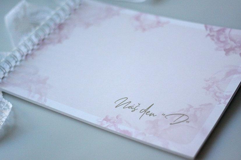 Kniha přání Blush kaligrafie, pudr 297x210, tištěná