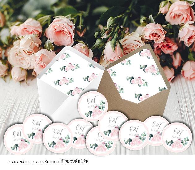 Kulaté nálepky Šípkové růže, růžové a bílé, 72 ks /45 mm