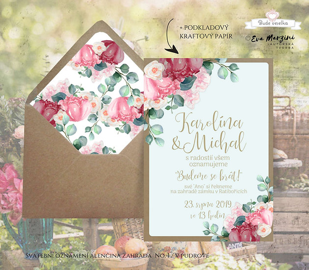 Svatební oznámení s malinovými, růžovými pivoňkami, meruňkovými růžemi a eukalyptem ve stylech boho vintage a přírodní rustic