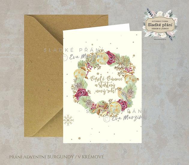 Vánoční přání Adventní Burgundy, v krémové - 240x170 - tištěné