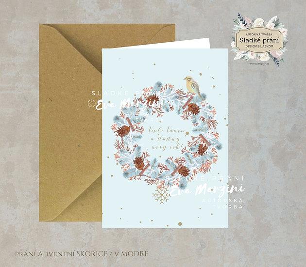 Vánoční přání Adventní skořice, v modré - 240x170 - tištěné