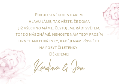 Kartičky na dary Pivoňky ve zalté kaligrafii, bílá 75x105 mm