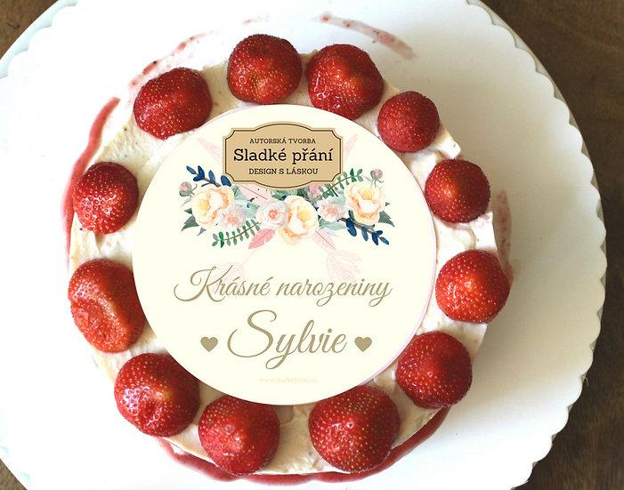 Jedlé blahopřání na dort - Boho růže, No.4